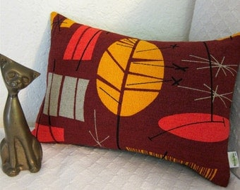 Tiki Retro MCM Pillow Cover - Coral, Golden Yellow and Coral Russet - Premium Reproduction Barkcloth - Many Sizes Available