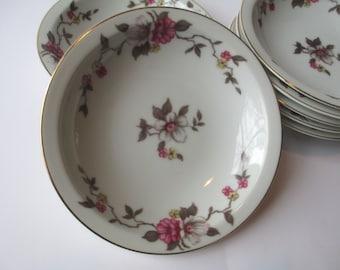 Vintage Dessert Bowls Empire China Meito Rosella Dark Pink Floral Set of Seven
