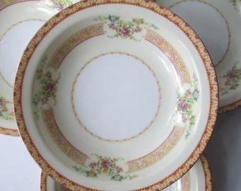 Vintage Empress Pink Gold Floral Soup Bowls Set of Four