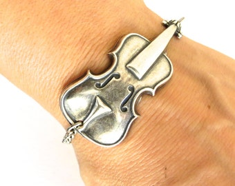 Steampunk Cello Bracelet- Sterling Silver Ox Finish