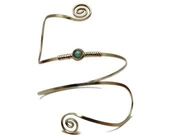 Blue Stone Bridal Arm Band, Spiral Armlet, Wire Wrap Arm Cuff, Silver Arm Bangle, Arm Bracelet, Upper Arm Cuff, Boho Arm Band