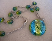 Land, Sea, and Sky Beaded Glass Necklace in Yellow, Blue, and Green