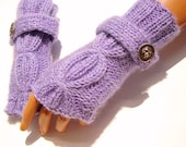 Hand Knit Lavender Fingerless Gloves, Mitten, Lavender Purple, Winter Accessories, Fall Fashion, Holiday Accessories