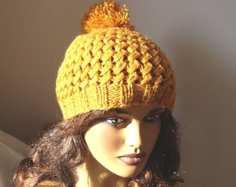 Hand Crochet Dark Yellow Beanie Hat, Winter Beanie Hat, Fall Fashion, Holiday Accessories, Winter  Fashion, Handcrochet Women Winter Hat