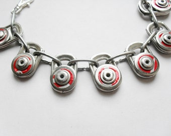 Silver & Red Charm-Style Riveted Bracelet, Recycled Coca-Cola, Upcycled Can Tops, Eco Friendly