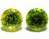 Color Change Lab Zirconia Brilliant Cut Yellow Topaz to Peridot Loose Gemstone Jewelry Handmade Hand Cut Lapidary One Off Unique