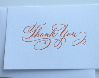 Thank You Cards- Wedding-Engagement- Orange Letterpress, set of 6