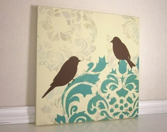 Shabby Home Decor, French Cottage Bird Painting