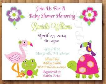 Tropical Paradise, Personalized Baby Shower or Birthday Invitations, Set of 10, Professionally Printed