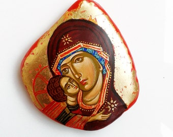 Virgin Mary and Christ child  Mini Icon with Easel, 3 by 3 inches, original handpainted miniature icon