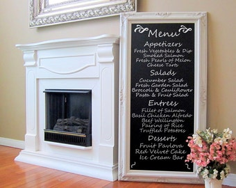 "TALL WEDDING CHALKBOARD Standing Chalkboard Attached Stand Easel Chalkboard Long Blackboard 56""x32"" Baroque Framed MaGNETIC Large Chalkboard"