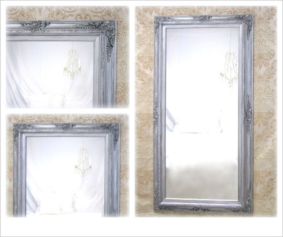 Large baroque mirror for sale 56x 32 silver full for Bedroom wall mirrors for sale