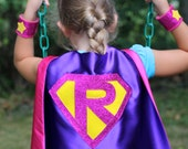 Holiday Sale - Fast Delivery - Sparkle PERSONALIZED GIRL SUPERHERO Cape - Custom Shield with Initial