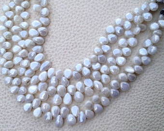 Brand New, 1/2 Strand, Mystic PEARL SILVERITE Smooth Pear Shape Briolettes,8-9mm Amazing Item at Low Price