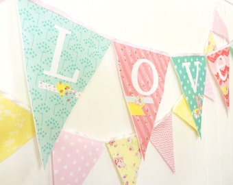 Love Bunting, Shabby Chic Banner Fabric Pennant Flags, Wedding, Bridal Shower, Baby Nursery, Baby Shower Garland Party Decor, Home Decor