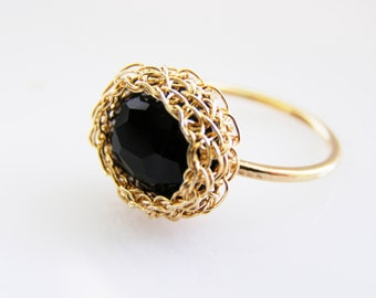 Black Onyx Ring, Oval Onyx Ring, Onyx Stacking Ring, Oval Black Onyx Ring, Black Gemstone Ring, Thin Gold Filled Ring