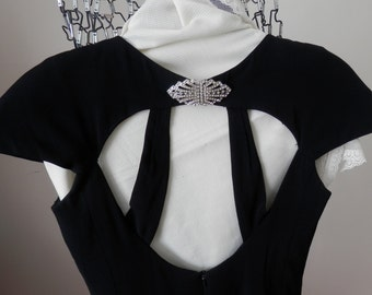 Vintage Little Black Dress-  Black Cocktail Dress by Constance Saunders for Richard Warren -