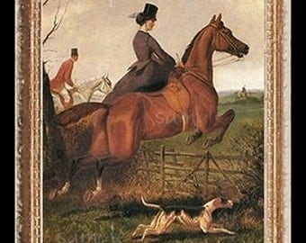 Jumping Sidesaddle Lady Miniature Dollhouse Horse Art Picture 6819