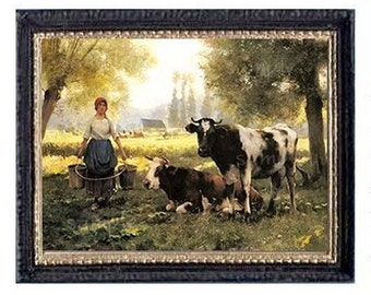Cows Miniature Dollhouse Doll House Art Picture 6706