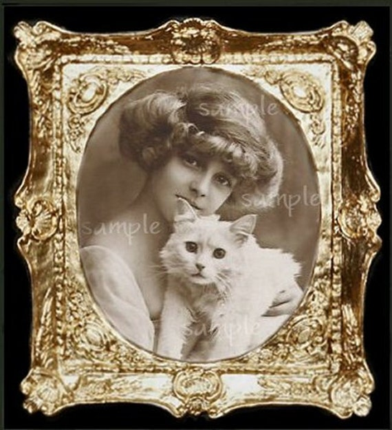 Vintage Girl And Cat Miniature Dollhouse Art Picture 1176