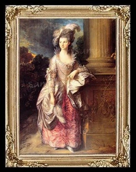 1700's Lady Miniature Dollhouse Art Picture 6305