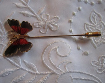 Vintage Butterfly Stick Pin with Gray and Orange Colors