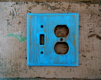 Light Switch Outlet Cover Plate Turquoise Distressed Wooden