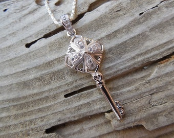 Key necklace in sterling silver with pave'd cz's