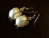 Ivory Baroque Swarovski Pearl Bridal Earrings in Gold Fill