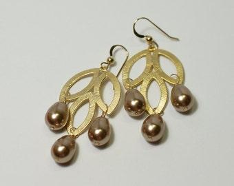 Bronze Swarovski Pearls Three-Leaf Earrings
