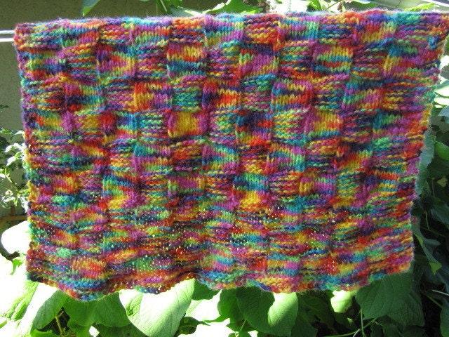 knit baby blanket acrylic yarn multi colored