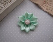 Flower Girl . satin ribbon flower . clippie . girls hair accessory . mint green . choose your clip style