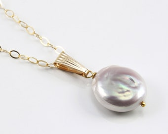 Pink Coin Pearl Gold Necklace. Ivory Freshwater Pearl. Gold Coin Pearl Pendant. Free Shipping.