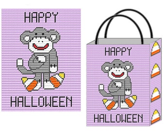 Plastic Canvas Candy Corn Lovin Sock Monkey Tote & Wall Hanging PDF FORMAT Instant Download