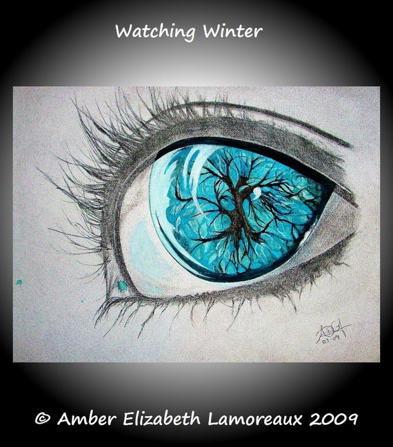 Fine Art Giclee Print of Original Painting Watching Winter Amber Elizabeth Lamoreaux Turquoise Eye Tree Pencil Mixed Media Modern