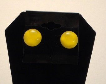 Fused Glass Yellow Post Earrings