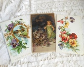 3 Tuck Postcards Pansy Violets  Vintage by Quilted Nest
