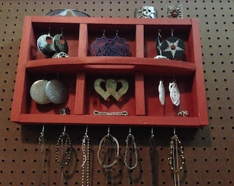 Upcycled Jewelry Organizing Display (Red Tray)