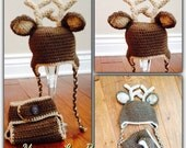 Baby Deer Crochet Beanie and Diaper Cover with Tail - Newborn to 12 Month Sizes