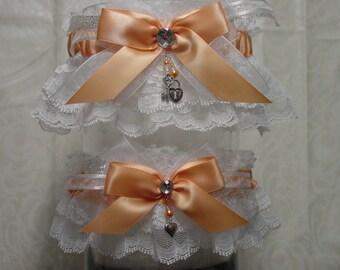 White and Peach Wedding Garter Set