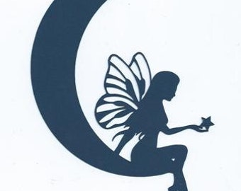 Moon fairy silhouette