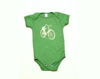 Green Bicycle Print Baby Bodysuit