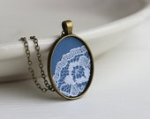 Cornflower Blue Necklace, Blue Lace Necklace Blue Wedding Blue Bridesmaid, Flower Necklace, Blue Pendant Blue Lace Jewelry Blue Jewelry