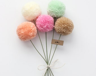 Yarn Pom Pom Flowers Bouquet- MADE TO ORDER