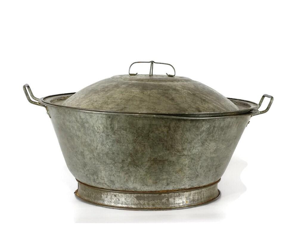 Antique Tin Bread Bowl Dough Riser Vintage Kitchen