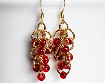 Cherry red and gold chainmaille earrings, Rhumba earrings
