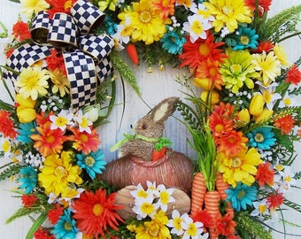 XL Easter Spring Wreath Decoration  Sisal Bunnies  Carrot Car   MacKenzie Childs Ribbon