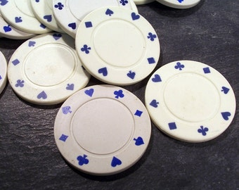 Poker Chips VINTAGE POKER Chips Twenty (20) White Thick Plastic Vintage Poker Chips Discs Vintage Jewelry Supplies Game Pieces (N38)