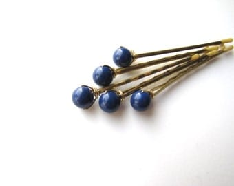 Dark Lapis Blue Hair Pins Set Swarovski 8mm, Something Blue, Cobalt Hairpins
