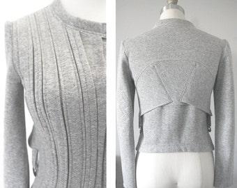 Structured Fleece Moto Jacket in Cotton Poly Sweatshirt Fleece